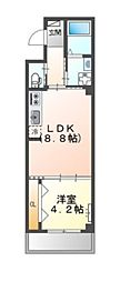 JR阪和線 堺市駅 徒歩6分の賃貸マンション 3階1LDKの間取り
