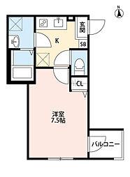 JR武蔵野線 東浦和駅 徒歩5分の賃貸アパート 1階1Kの間取り
