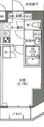 s-residence雑司ヶ谷 6階1Kの間取り