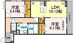仮称D-room保木間1丁目 3階2LDKの間取り