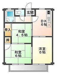 愛知県豊橋市東小浜町の賃貸アパートの間取り