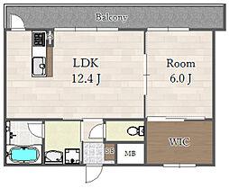 阪急京都本線 上新庄駅 徒歩10分の賃貸マンション 2階1LDKの間取り