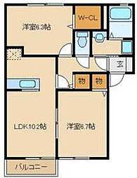 JR川越線 南古谷駅 徒歩16分の賃貸アパート 1階2LDKの間取り