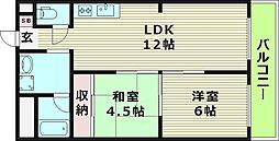 新栄プロパティー千林2 3階2LDKの間取り