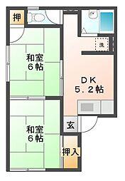 愛知県岡崎市上里3丁目の賃貸アパートの間取り