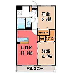 (仮称)Y&M西川田本町3丁目 2階2LDKの間取り