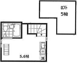 インベスト南蒲田 2階ワンルームの間取り