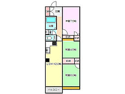 新北野第2コーポ 西棟[14階]の間取り