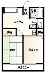 神奈川県横浜市青葉区松風台の賃貸アパートの間取り