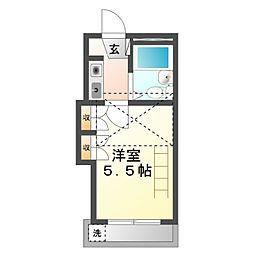 豊橋鉄道東田本線 東田駅 徒歩5分の賃貸アパート 2階1Kの間取り