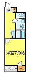 JR八高線 毛呂駅 徒歩12分の賃貸アパート 1階1Kの間取り
