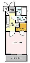 東急田園都市線 鷺沼駅 徒歩10分の賃貸マンション 1階1Kの間取り