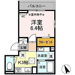 (仮)高松町3丁目レジデンスプロジェクト 2階1Kの間取り