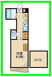 小田急小田原線 経堂駅 徒歩6分の賃貸アパート 1階1Kの間取り
