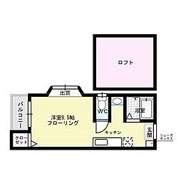 福岡県福岡市中央区春吉1丁目の賃貸アパートの間取り