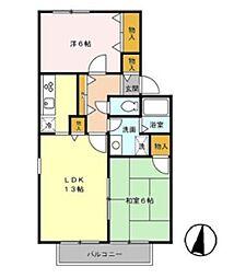 JR京浜東北・根岸線 与野駅 徒歩21分の賃貸アパート 2階2LDKの間取り