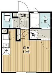 (仮称)西東京市富士町5丁目新築アパート 1階ワンルームの間取り