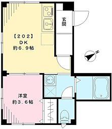 JR中央線 阿佐ヶ谷駅 徒歩5分の賃貸マンション 2階1DKの間取り
