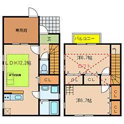 JR阪和線 和泉府中駅 徒歩20分の賃貸一戸建て 2LDKの間取り