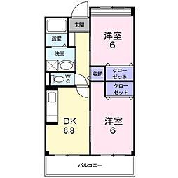 エアリーヒル 2階2DKの間取り