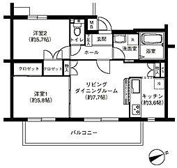 オークヴィレッジ調布[2階]の間取り