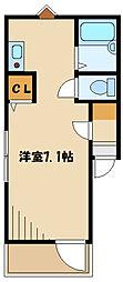 小田急小田原線 読売ランド前駅 徒歩6分の賃貸アパート 3階ワンルームの間取り