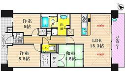 ザ・パークハウス阿倍野三明町[3階]の間取り