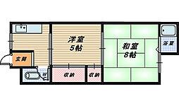 大阪府堺市西区津久野町3丁の賃貸アパートの間取り
