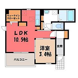 JR東北本線 宇都宮駅 バス20分 中央女子高前下車 徒歩3分の賃貸アパート 1階1LDKの間取り