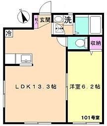 東京メトロ丸ノ内線 茗荷谷駅 徒歩5分の賃貸アパート 1階1LDKの間取り