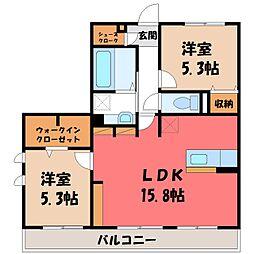 (仮)D-room中央町 2階2LDKの間取り