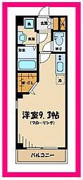 京王線 東府中駅 徒歩9分の賃貸マンション 1階ワンルームの間取り
