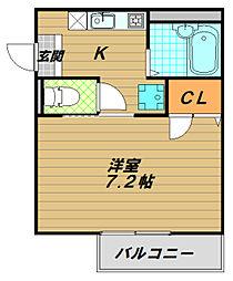 兵庫県神戸市須磨区小寺町3丁目の賃貸アパートの間取り