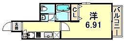 阪急神戸本線 春日野道駅 徒歩1分の賃貸マンション 7階1Kの間取り