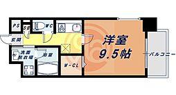 Osaka Metro四つ橋線 花園町駅 徒歩13分の賃貸マンション 5階1Kの間取り
