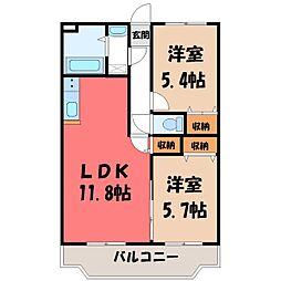 ユーミーグレース II 3階2LDKの間取り