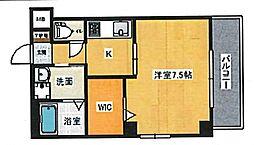 広島電鉄2系統 猿猴橋町駅 徒歩13分の賃貸マンション 7階1Kの間取り