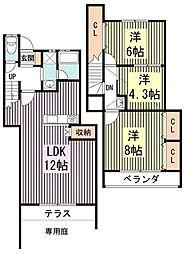 [テラスハウス] 東京都練馬区田柄1丁目 の賃貸【/】の間取り