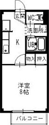 近江鉄道近江本線 鳥居本駅 徒歩10分の賃貸アパート 1階1Kの間取り