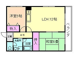 コート北桜塚[2階]の間取り