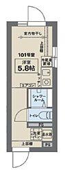 JR中央線 阿佐ヶ谷駅 徒歩6分の賃貸マンション 1階ワンルームの間取り