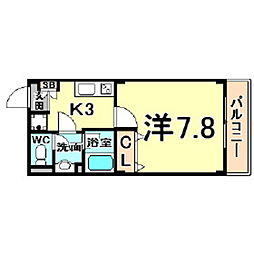 ロクサーヌ浜甲子園 2階1Kの間取り