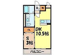 栃木県小山市三峯1丁目の賃貸アパートの間取り