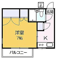 第3フラッツ京明[203号室]の間取り