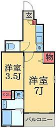 千葉県千葉市中央区大森町の賃貸アパートの間取り