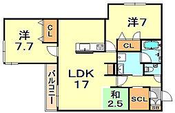 (仮称)シャーメゾン神戸市東灘区深江南町 3階2SLDKの間取り