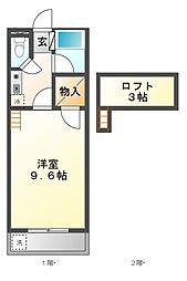 愛知県豊橋市細谷町字山ノ田の賃貸アパートの間取り