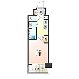 Osaka Metro御堂筋線 西中島南方駅 徒歩8分の賃貸マンション 6階1Kの間取り