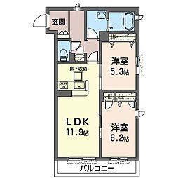 座間市栗原中央1丁目マンション (仮) 1階2LDKの間取り