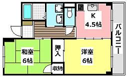 大阪モノレール 南摂津駅 徒歩9分の賃貸マンション 2階2Kの間取り